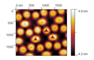 Indentation on 300nm diameter structure, scan bei NanoVision